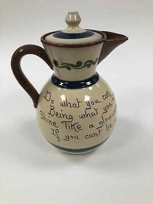 """Tall (8"""") Watcombe Torquay Motto Ware Covered Jug """" Do What You Can…"""" • 10.99£"""