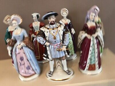 Full Set Of 7 X Sitzendorf Ceramic Figures Of King Henry Viii And His Six Wives • 299.99£
