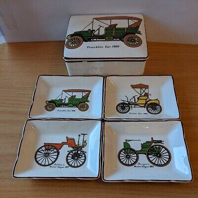 Sandland Set Of Four Ashtrays / Pintrays Decorated With Antique Cars. • 3£
