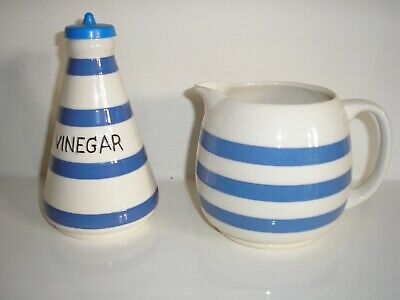 Vintage  Chef Ware Blue And White Vinegar Pot • 12£