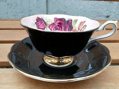 Royal Albert Cup And Saucer Milady Series Black With Dark Pink Rose Vintage Item • 19.99£