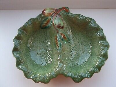 Vintage SHORTER & SON Majolica Cabbage Leaf Divided Dish With Pear Decoration • 5£