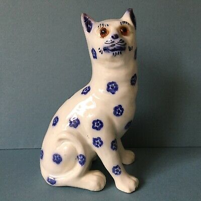 ANTIQUE FRENCH FAIENCE Or STAFFORDSHIRE SPONGEWARE POTTERY CAT WITH GLASS EYES • 58£