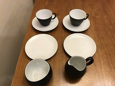 Raymond Loewy For Rosenthal Continental Charcoal/white Tea For Two 8 Pieces • 35£