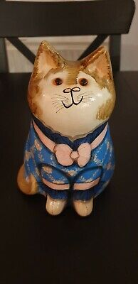 Joan And David De Bethel Cat Genuine Rye Hand Painted Floral Pottery 7in • 200£