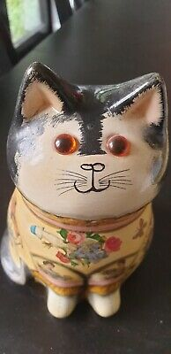 Joan And David De Bethel Cat Genuine Rye Hand Painted Floral Pottery 7in • 250£