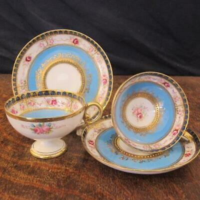 2x EARLY 20thC NORITAKE PORCELAIN ROSES PATTERN PEDESTAL CUPS & SAUCERS • 11.50£