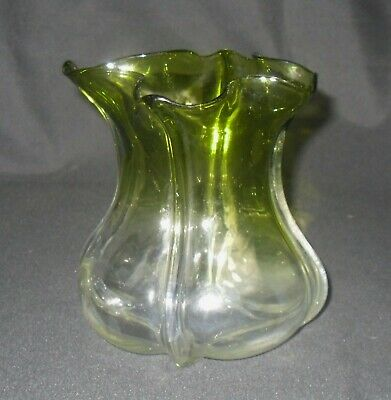 Art Nouveau Glass Green And Clear Vase • 10£