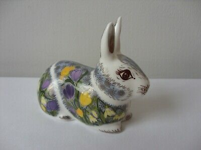 Royal Crown Derby Springtime Bunny Rabbit Paperweight Gold Stopper • 82.50£