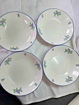 Royal Doulton Everyday 4 Dessert/Soup Bowls 1994 Fine China Blueberry T.C.1204 • 24.99£