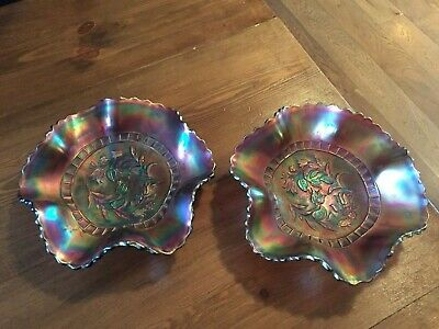 Vintage Carnival Pearlised Glass Dishes X 2 • 19.99£