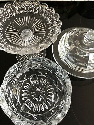 Vintage Glass Cake Stand Butter Dish Sugar Bowl • 12£