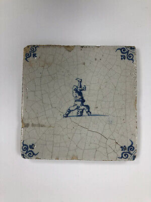 18th Century Dutch Delft Blue And White Tile Of Man Standing On His Head • 31.50£