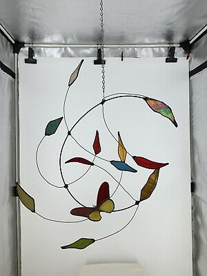 Vintage Stained Glass Falling Leaves Butterfly Suncatcher Home Garden Decoration • 22.56£