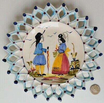 Art Faience French Pottery Pierced Plate Hand Painted Traditional Picture 19 Cm • 12.99£