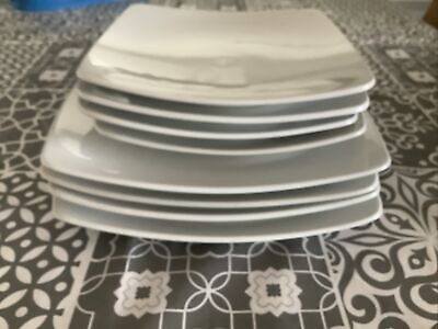 MARKS AND SPENCER ANDANTE SQUARE DINNER PLATES X 4 Sides X4 - WHITE • 14.99£