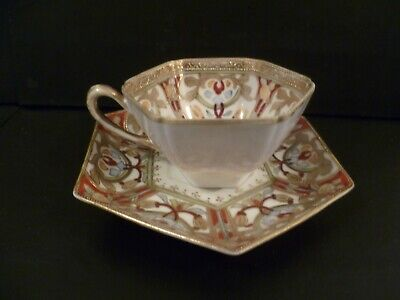 Antique Noritake Porcelain Hand Painted Gilded Cabinet Cup & Saucer • 55£