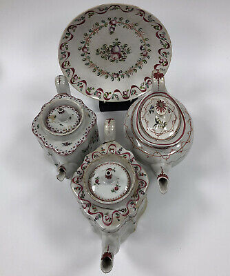 18th Century New Hall Study Reference Collection-three Teapots And A Large Plate • 25£