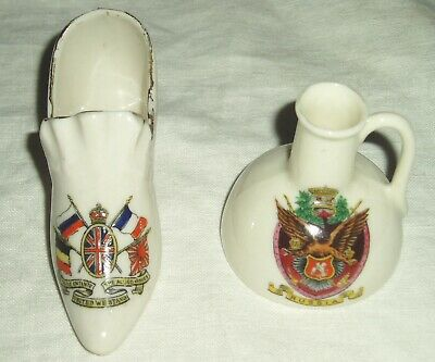 Antique WWI Crested China Triple Entente Allied Armies Shoe & Arcadian Russia • 6£