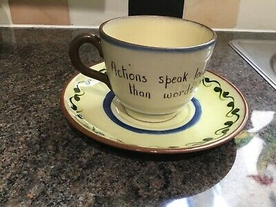 Royal Watcombe Pottery Motto Ware Cup And Saucer. • 4.99£
