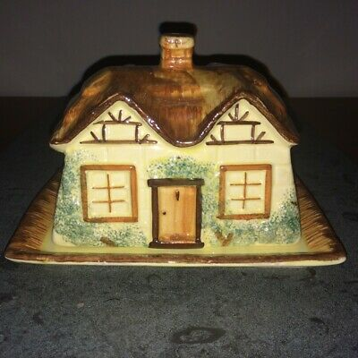 Vintage Keele St Pottery Cottage Ware Butter/cheese Dish & Cover Hand Painted • 4£