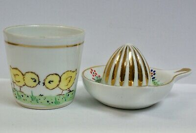 Vintage Hand Decorated French Cristalia Ceramic Child's Citrus Squeezer & Mug • 28£