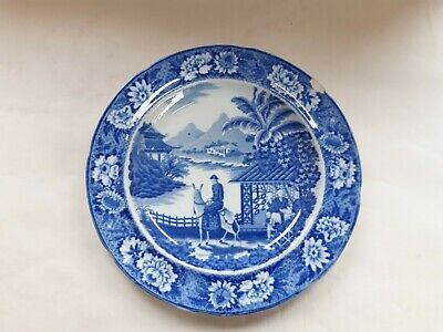 Antique Pearlware Blue And White Transfer Plate, Departing Traveller  • 9£