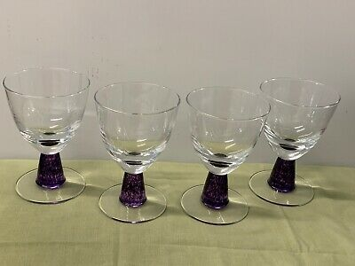 Denby    Storm   Purple Stem, Water Goblets  --  4 • 49.32£