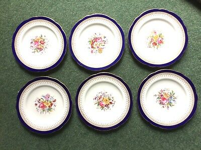 Late 19th / Early 20th Century Coalport Porcelain 6 Dinner Plates Bouquet Flower • 180£