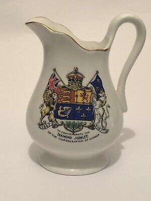Diamond Jubilee Of The Confederation Of Canada 1867-1927 Aynsley Jug 120 Mm High • 4£
