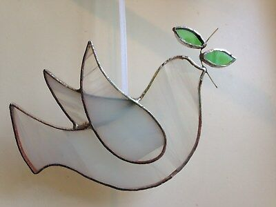 Handmade Stained Glass Peace Dove Suncatcher Hanging Decoration Gift • 16£