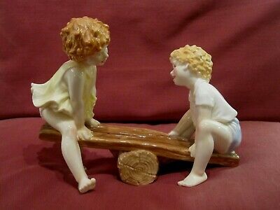 Stunning Royal Worcester Figurine - Boys & Girls Come Out To Play - See-saw • 52.70£