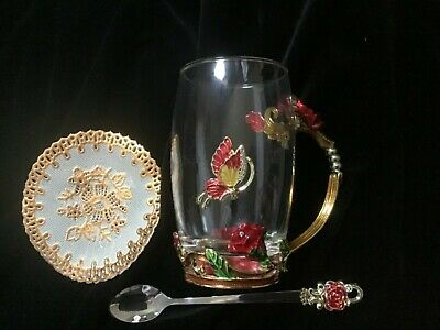 Large Cup And Spoon Set Flower & Butterfly- Enamel & Glass New - Boxed - Gift  • 1.99£