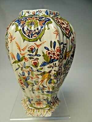 Vintage Hexagonal Fluted Pottery Vase With Floral Decorations • 7.99£