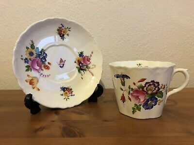 Vintage Cauldon Cup & Saucer Butterfly & Flowers • 14.99£