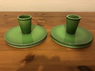 Matched Pair Of KF Danish Green Candle Holders • 19.99£