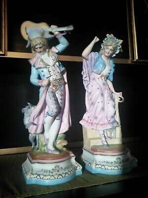 Rare Pair Of Antique French Bisque Porcelain Figures , Man & Lady With Dog & Cat • 250£