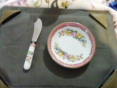 Crown Staffordshire Butter Plate Dish & Butter Knife Floral VGC.  • 6.50£