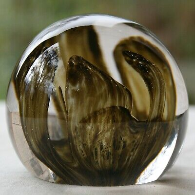 Strathearn Glass Of Perthshire  Orchid  Paperweight In Brown • 15£