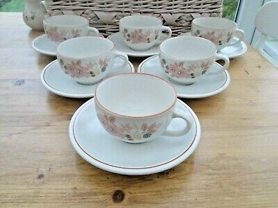 Rare Vintage Boots Hedge Rose Pottery Set Of 6 Cups & Saucers • 11.99£