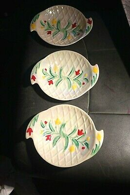 Rare 3 Wade Lattice Lustre Ware Dishes Red Yellow Flower Hand Painted 6.5 X 5.25 • 8.99£