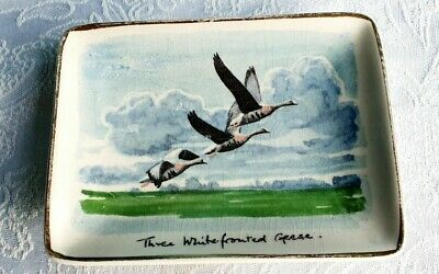 Peter Scott Signed Midwinter Ceramic Pin Dish Whitefronted Geese Staffordshire • 5.99£
