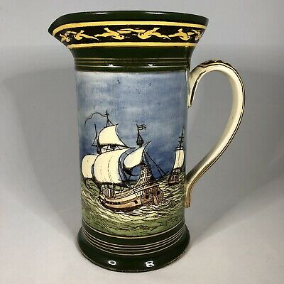 Royal Doulton Series Ware — Galleons — D2677 — Pitcher Jug C. 1920s — Small Chip • 24.99£