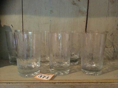 Antique Pall Mall Glasses - Glass Tumblers - Cut & Etched - Set Of Seven • 30£