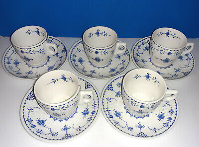 5 Furnivals Denmark Coffee Cups And Saucers DemiTasse, Blue • 35£