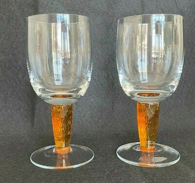 2 - Denby Fire Stemmed Wine Glass Fused Orange To Clear • 36.64£