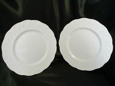 Queen's Fine Bone China Marie Pattern WHITE Dinner Plates X 2 UNUSED & PERFECT • 12£