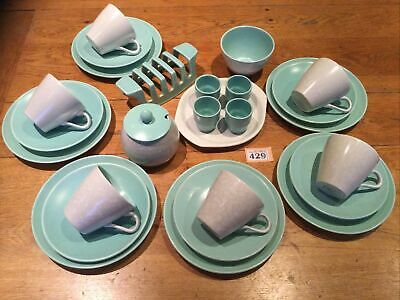 POOLE POTTERY TWINTONE Ice Green & Seagull (C57) Vintage Breakfast Set For 6 • 80£