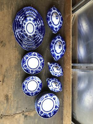 Job Lot Blue & White Plates Taurine Serving Full Service Dinner Side Dessert • 13£