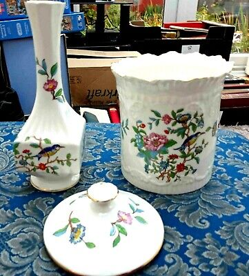 Anysley Items (x2)  Pembroke  Design - Bone China Vase & Small Biscuit Jar With  • 5£